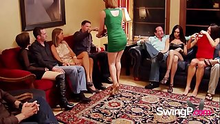 Swinging couple starts playing around in the house the moment they have entered