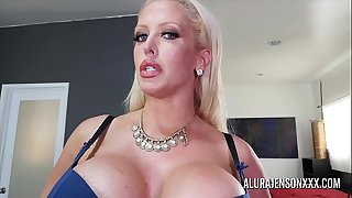 Busty MILF Alura Jenson has her big nut sack worshipped