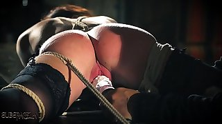 Teenager sex slave is tied up and fucked while getting smacking and slapping