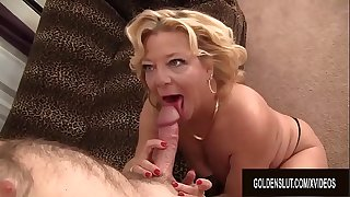 Blonde Granny Karen Summers Enthusiastically Deep throats and Fucks a Thick Cock