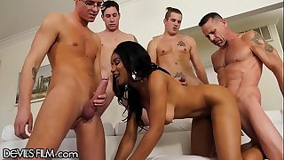Jenna Foxx Gangbang with 4 Big Sensitized That Blow All Over Her!!