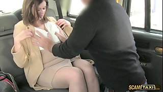 Hottie office manager gets slammed hard in the taxi