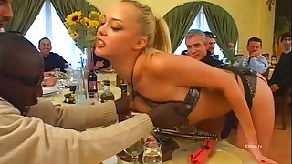 Two young sexy maids slaves of customers gang bang!
