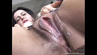 Nasty old spunker loves to fuck her soaking wet beaver